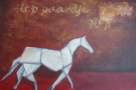 USE YOUR POWER AND IMAGINATION - ORIGAMI PAARD ACRYL OP CANVAS 40X50 cm